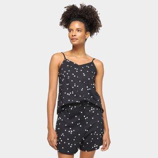 Pijama Curto Hering Estampado Regata + Short Feminino
