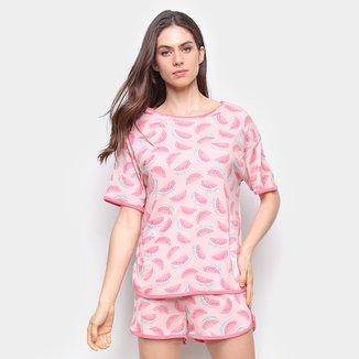 Pijama Curto Hering Melância Feminino