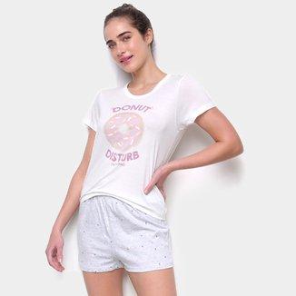 Pijama Curto Hering Short-Doll Dunut Feminino