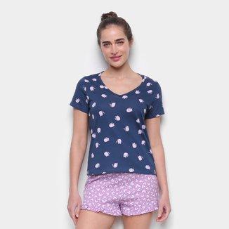 Pijama Curto Hering Short-Doll Poá Feminino