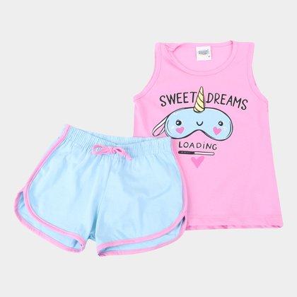 Pijama Curto Infantil Duzizo Regata Brilha no Escuro Dreams Feminino