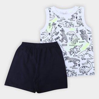 Pijama Curto Infantil Elian Brilha no Escuro Regata Masculino
