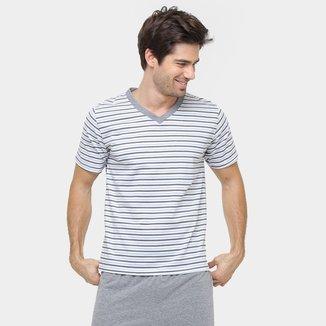 Pijama Curto Lupo Algodão Listrado