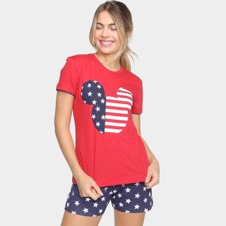 Pijama Evanilda Disney Mickey USA Feminino