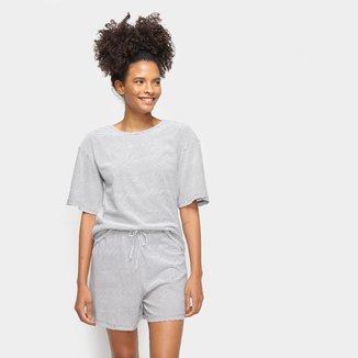 Pijama Hering Curto Listrado Feminino