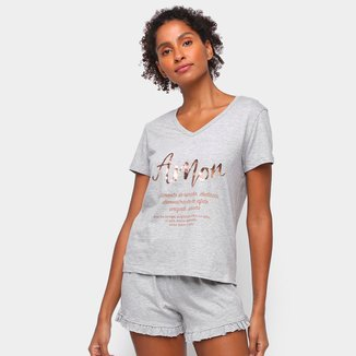Pijama Hering Curto+ Saquinho Felicidade Feminino