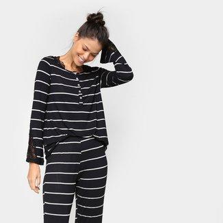 Pijama Hope Longo Listrado Feminino