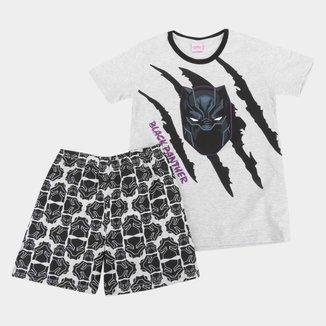 Pijama Infantil Curto Evanilda Marvel Pantera Negra Masculino