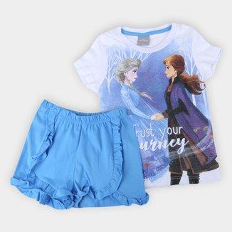 Pijama Infantil Evanilda Frozen Disney Feminino