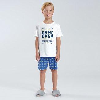 Pijama Infantil Pulla Bulla Malha Game Over Masculino