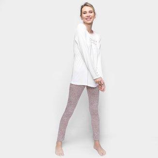 Pijama Longo Cor Com Amor Com Legging Feminino