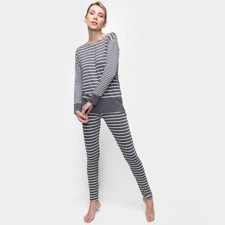 Pijama Longo Cor Com Amor Listrado Feminino