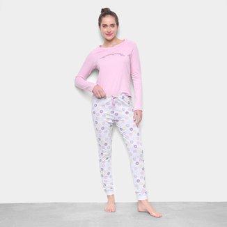 Pijama Longo Hering Estampado Listras Feminino