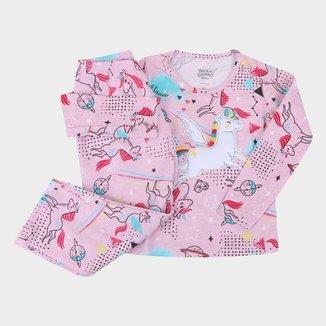 Pijama Longo Infantil Elian Unicórnio Brilha No Escuro Feminino