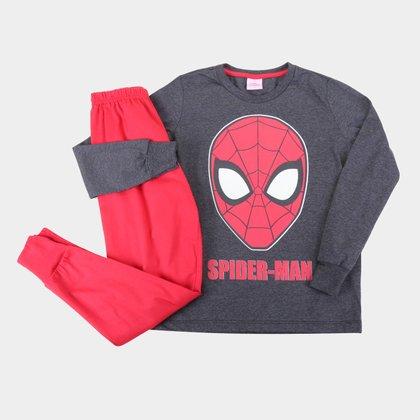 Pijama Longo Infantil Evanilda Marvel Spider Man Masculino