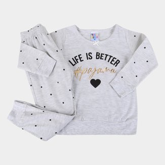 Pijama Longo Infantil Pulla Bulla Poá Feminino