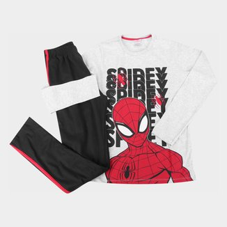 Pijama Longo Juvenil Evanilda Marvel Spider Man Masculino