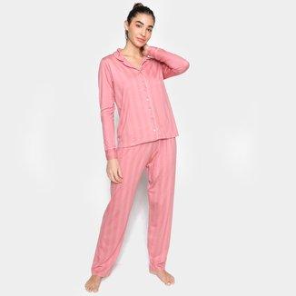 Pijama Longo Malwee Camisa + Calça Feminino