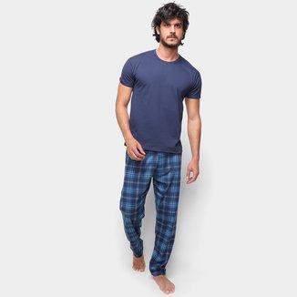 Pijama Longo Malwee Camiseta + Calça Básico Masculino