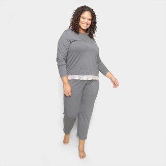 Pijama Longo Plus Size Evanilda Daisy Days Feminino