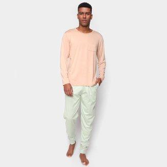 Pijama Longo Volare Manga Longa Bolso Masculino