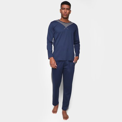 Pijama Longo Volare Manga Longa Listra Masculino