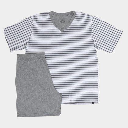 Pijama Lupo Listrado Gola V Masculino