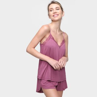 Pijama Short Doll Cor Com Amor Alça Feminino