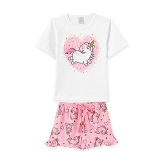 Pijama Short Doll Infantil Pingo Lelê Unicórnio Feminino