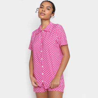 Pijama Volare Curto Bordado Poá Feminino