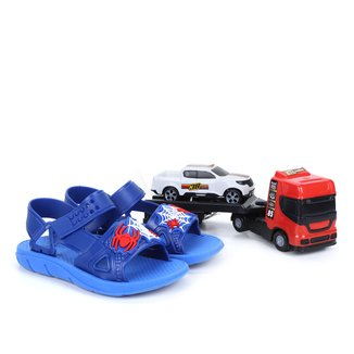 Sandália Papete Infantil Luelua Aranha+ Mini Reboque Caminhão