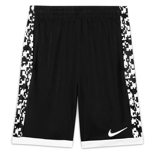 Short Infantil Nike Dri-Fit Trophy Aop Masculino - Preto+Branco