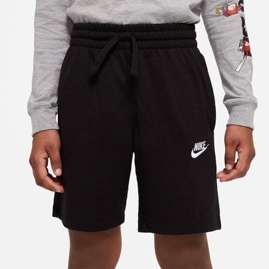 Short Infantil Nike  Jersey Masculino - Preto+Branco