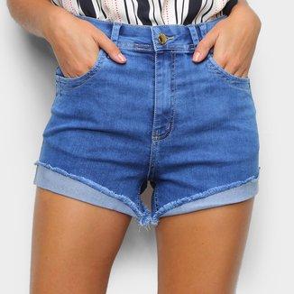 Short Jeans Sawary Barra Desfiada Virada Feminino
