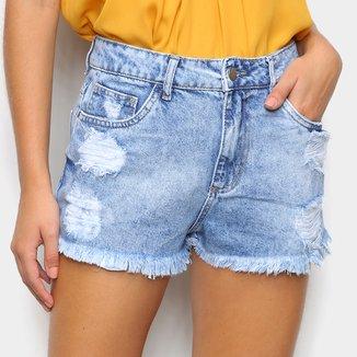 Short Jeans Sawary Boyfriend Barra Desfiada Feminino
