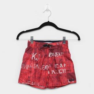 Shorts D'água Infantil Calvin Klein Estampado Logos Masculino