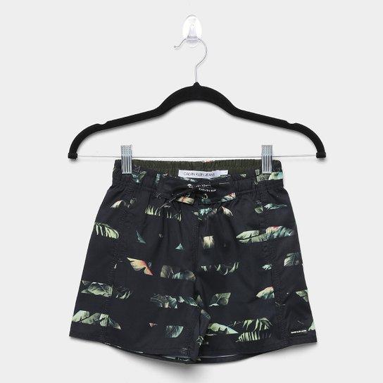 Shorts Infantil Calvin Klein D agua Listrada Floral Masculino - Preto