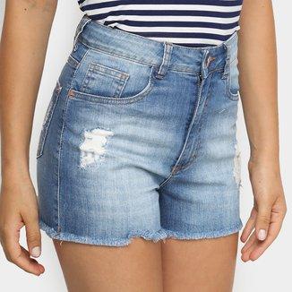 Shorts Jeans Cintura Alta Malwee Feminino