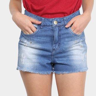 Shorts Jeans Ecxo Aplique Estrela Feminino