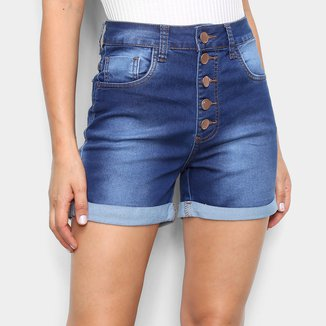 Shorts Jeans Ecxo Botões Feminino