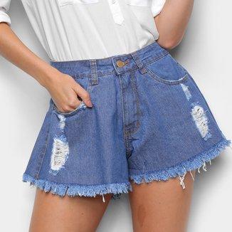 Shorts Jeans Godê Ecxo Com Puídos Feminino