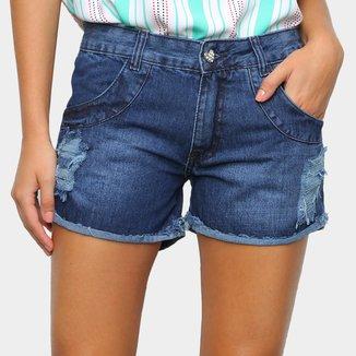 Shorts Jeans Zamany Barra Virada Feminino