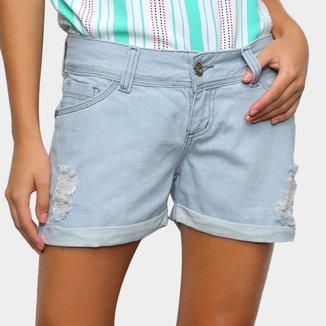 Shorts Jeans Zamany Puídos Claro Feminino