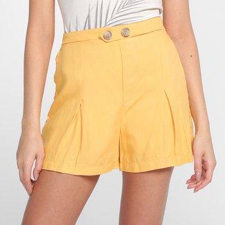 Shorts Lunender Rayon Cintura Média Feminino