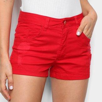 Shorts Sarja Ecxo Cintura Média Feminino