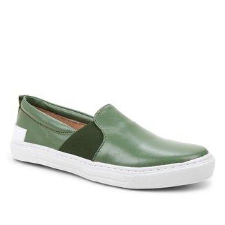 Slip On Couro Shoestock Elástico Feminino