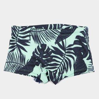 Sunga Boxer Infantil Fakini Folhagens Proteção UV 50+
