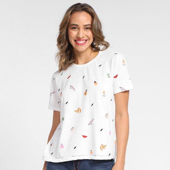T-Shirt Cantão Slim Tuti Fruti Feminina - Off White