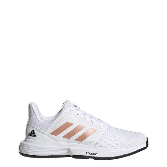 Tênis Adidas Courtjam Bounce Feminino - Branco+Rosa