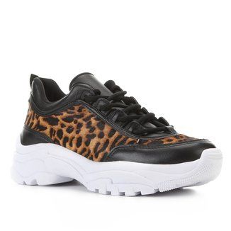 Tênis Couro Shoestock Chunky Onça Feminino